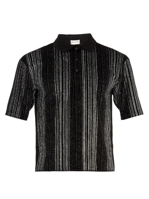 Saint Laurent Glittered-stripe Cotton-blend Velour Polo Shirt In Black Silver
