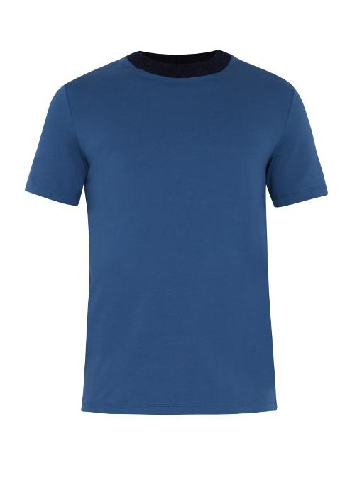 Maison Margiela Ribbed-knit Neckline Cotton-jersey T-shirt In Indigo