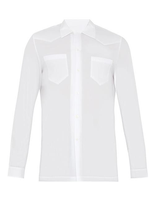 Maison Margiela Half-zip Panel Point-collar Cotton Shirt In White