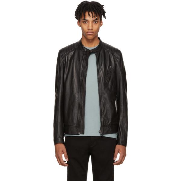 Belstaff Black Leather V-racer Jacket