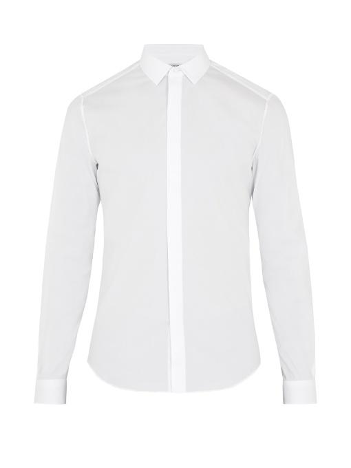 Valentino Single-cuff Cotton-blend Poplin Shirt In White