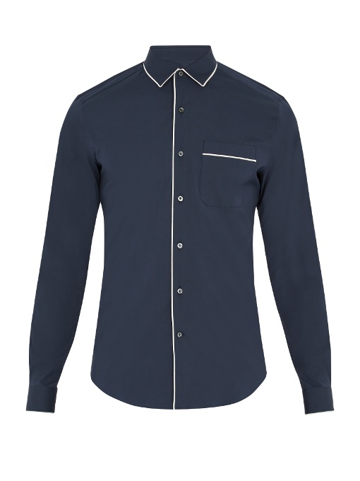 Valentino Single-cuff Piped-edge Cotton-blend Shirt In Navy Multi