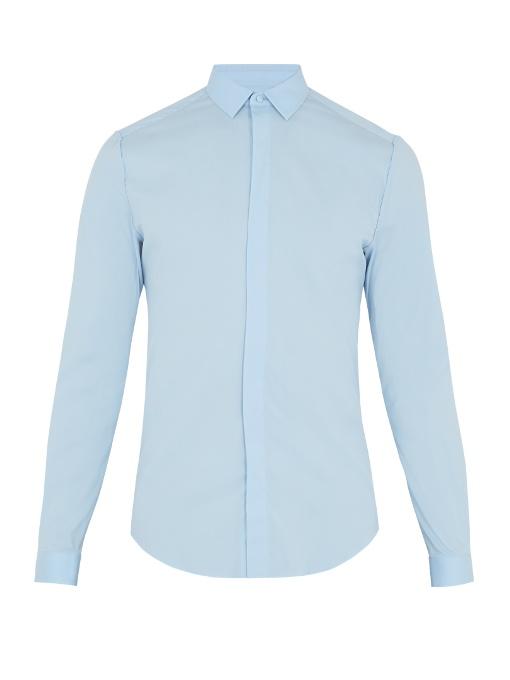Valentino Single-cuff Cotton-blend Poplin Shirt In Light Blue