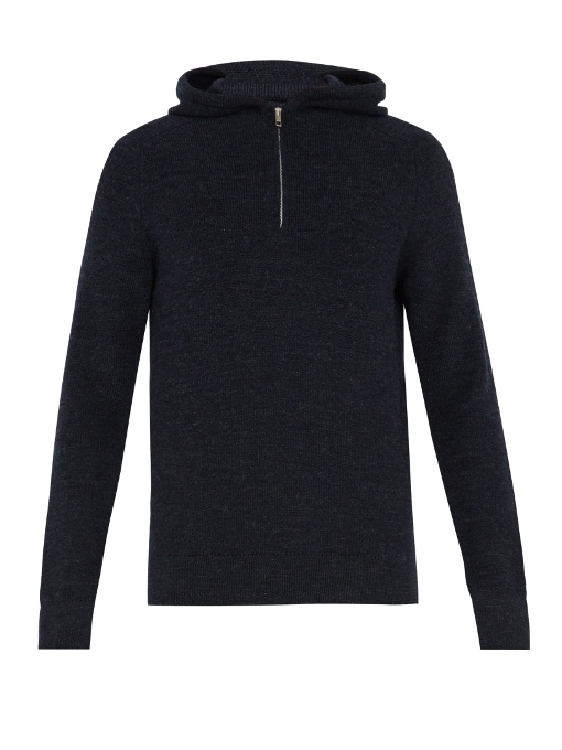 Maison Margiela Half-zip Wool Sweater In Navy