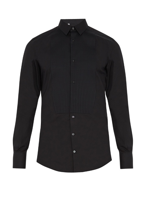 Dolce & Gabbana Gold-fit Single-cuff Cotton Dinner Shirt In Black