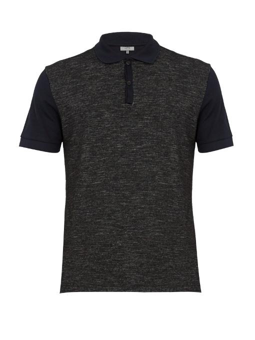 Lanvin Contrast-panel Cotton-piquÉ Polo Shirt In Navy Multi