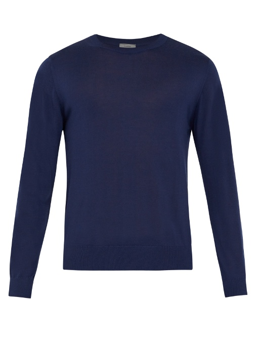 Lanvin Crew-neck Cashmere Sweater In Navy