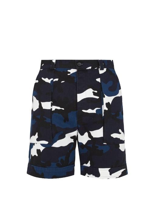 Valentino Camouflage-print Cotton-twill Shorts In Blue Multi