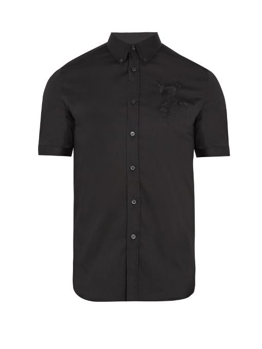 Alexander Mcqueen Rose-embroidered Cotton-blend Shirt In Black