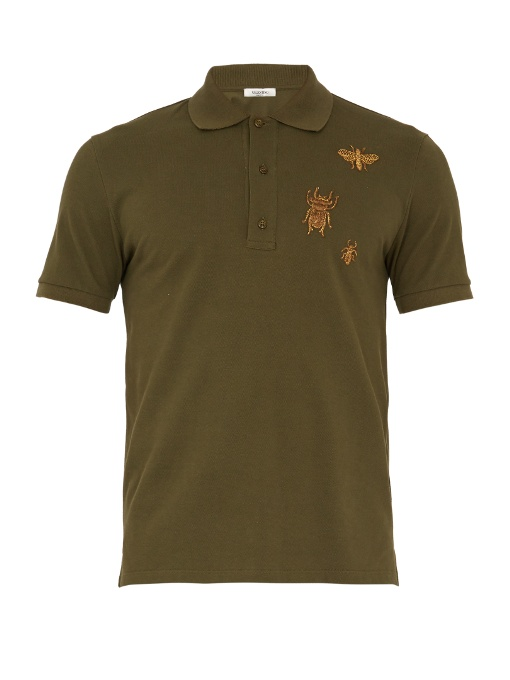 Valentino Insect-embroidered Cotton-piquÉ Polo Shirt In Green Multi