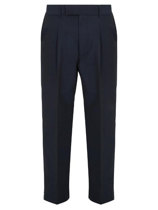 Gucci - Wide Leg Cotton Blend Trousers - Mens - Navy