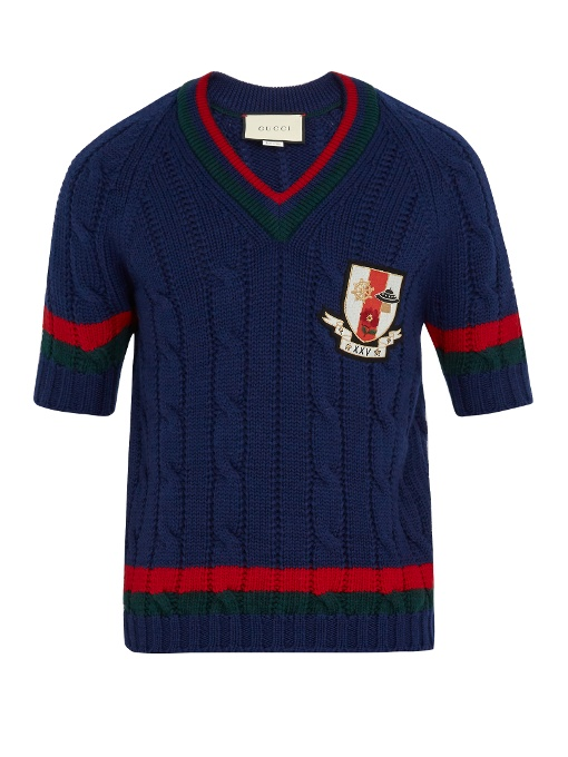 Gucci Crest-appliquÉ Cable-knit Wool Sweater In Navy