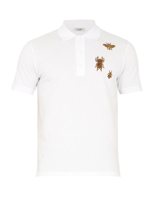 Valentino Insect-embroidered Cotton-piquÉ Polo Shirt In White Multi