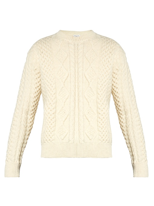 Saint Laurent Crew-neck Cable-knit Wool Sweater In Cream