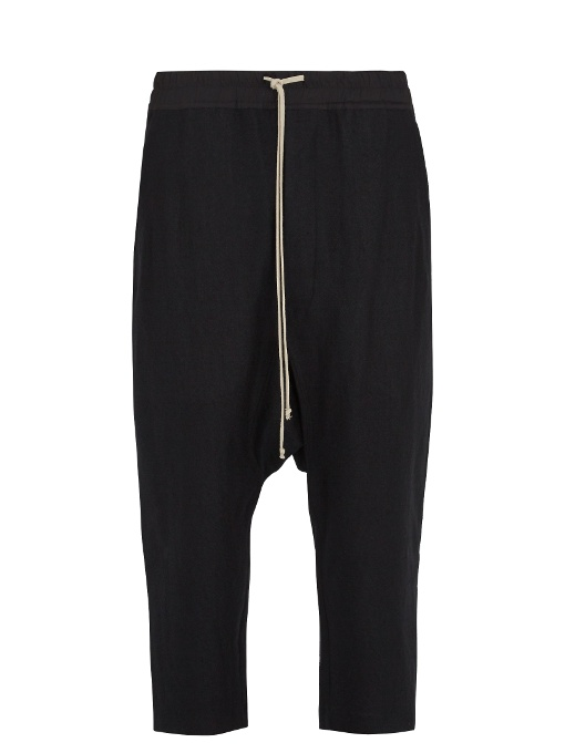 Rick Owens Dropped-crotch Wool-blend Cropped Trousers In Black