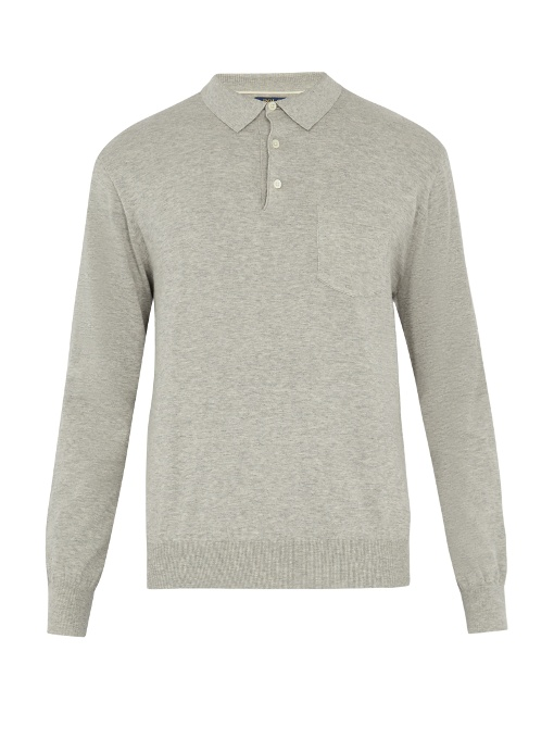 Polo Ralph Lauren Patch-pocket Cotton-knit Polo Shirt In Grey
