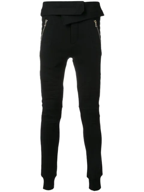 Balmain Foldover-waist Cotton Track Pants In Black