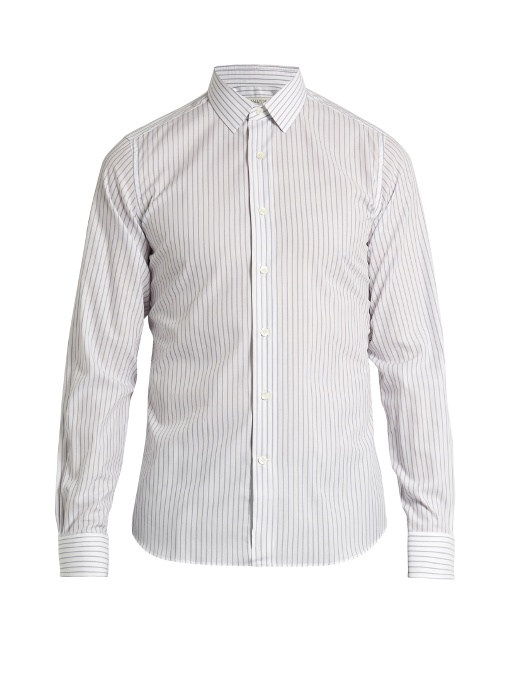 Valentino Single-cuff Striped Cotton Shirt In Grey