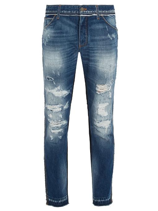 Dolce & Gabbana Distressed Contrast-panel Slim-leg Jeans In Light Blue