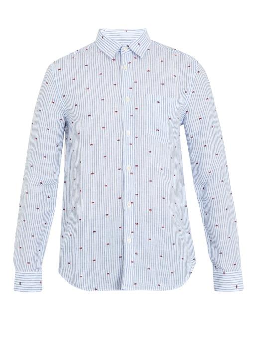 120% Lino Striped Fil CoupÉ Linen Shirt In Blue Multi