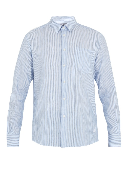 Vilebrequin Caroubis Button-cuff Linen And Cotton-blend Shirt In Blue