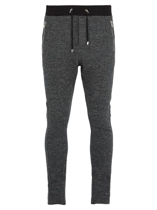 Balmain Drawstring Wool-jersey Track Pants In Grey