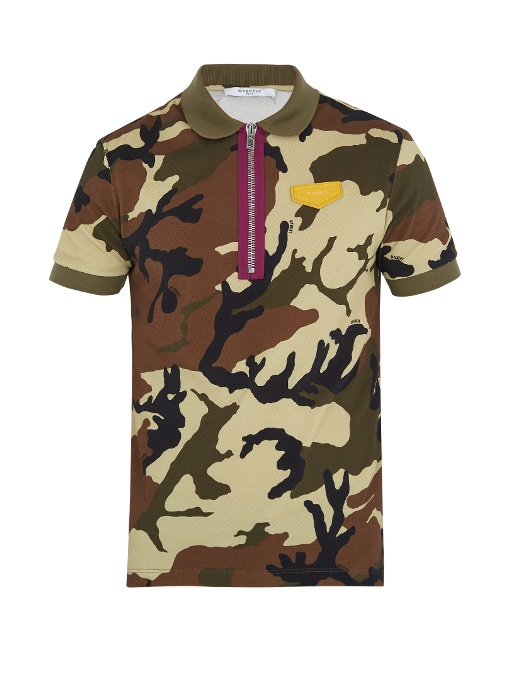 Givenchy Cuban-fit Camouflage-print Cotton Polo Shirt In Khaki Multi