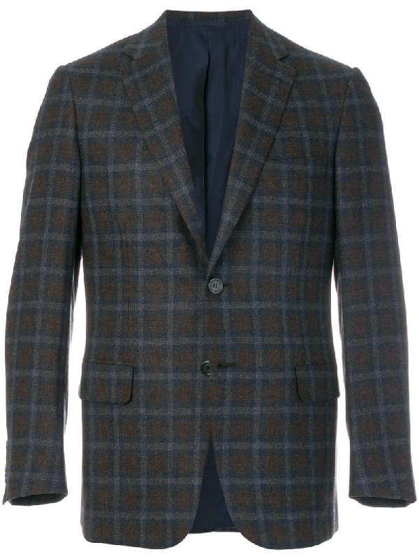 Brioni Single-breasted Checked Flannel-wool Blazer In Brown Multi