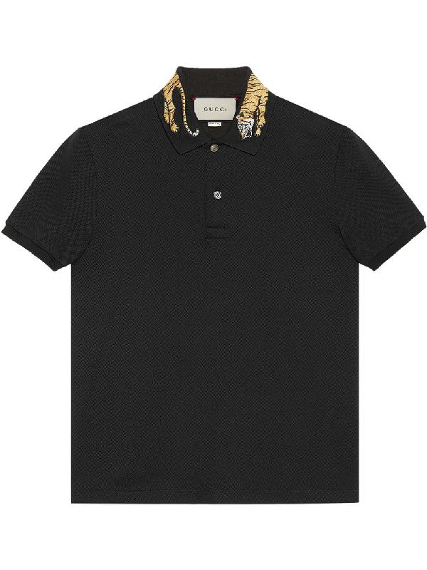 Gucci Tiger-appliquÉ Cotton-blend PiquÉ Polo Shirt In Black