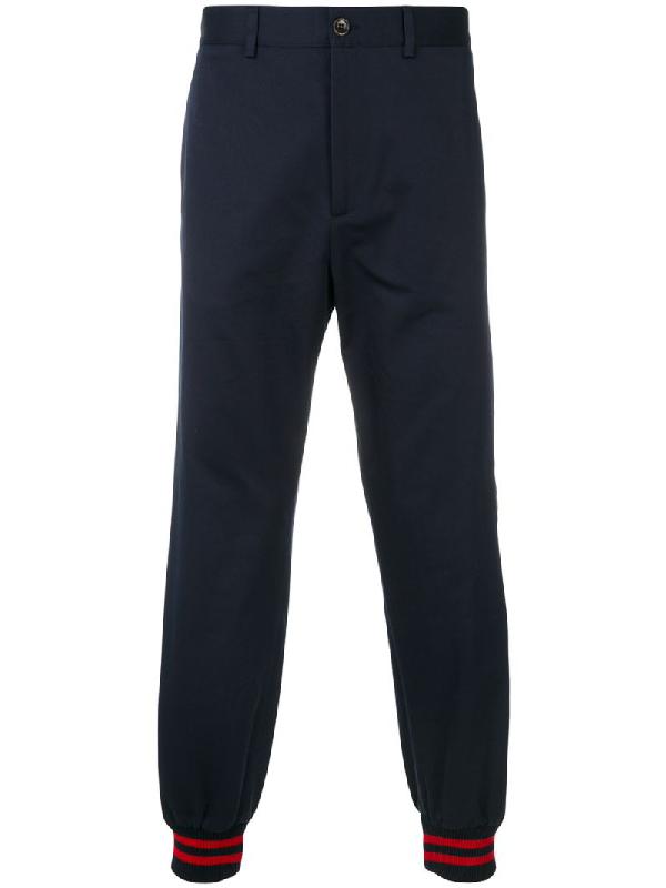 Gucci Side-stripe Cotton Trousers In Blue
