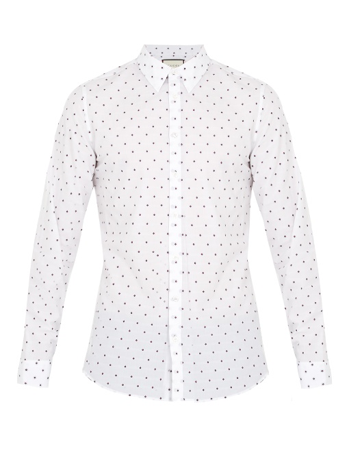Gucci Geometric Fil CoupÉ Cotton Shirt In White