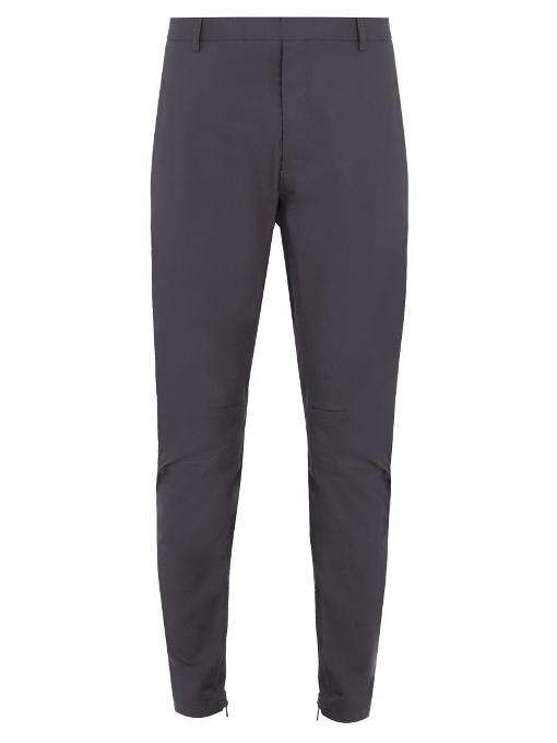 Lanvin Zip-hem Biker Chino Trousers In Grey