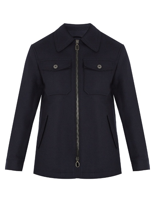 Lanvin Chest-pocket Wool-felt Jacket In Navy