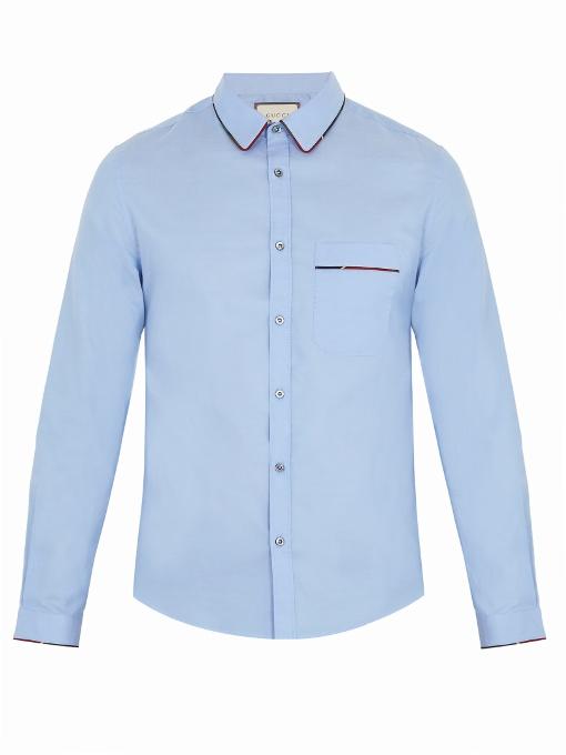 Gucci - Duke Web Piping Cotton Shirt - Mens - Light Blue