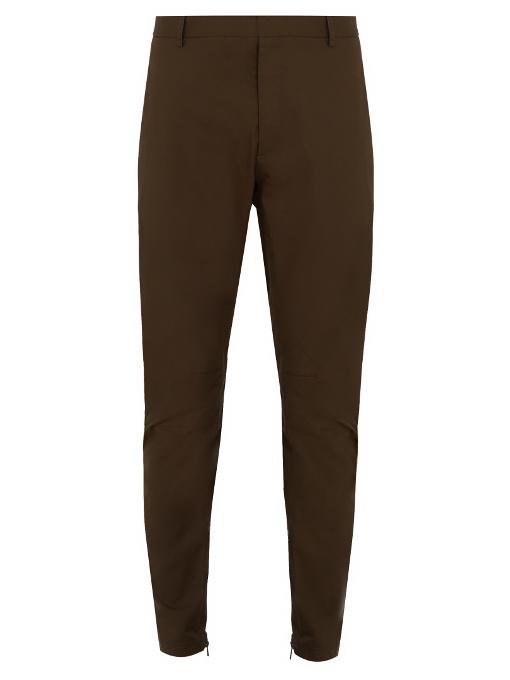 Lanvin Zip-hem Biker Chino Trousers In Khaki