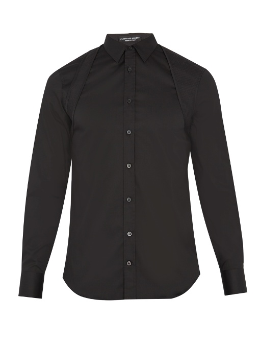 Alexander Mcqueen Quilted-harness Cotton-blend Poplin Shirt In Black