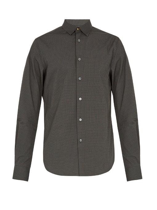 Paul Smith Geometric-print Cotton-poplin Shirt In Green Multi