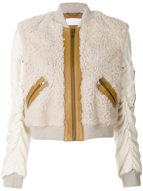 ChloÉ Zipped Shearling Jacket In Nude & Neutrals
