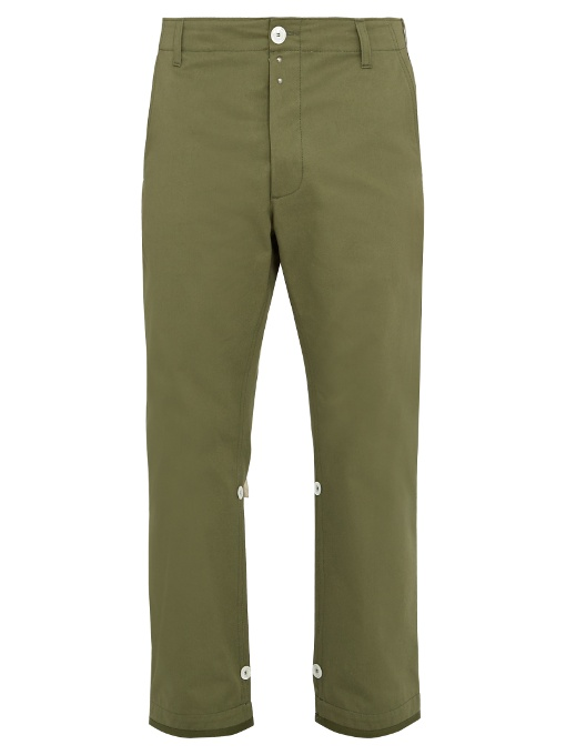 Gucci Straight-leg Cropped Cotton Trousers In Khaki