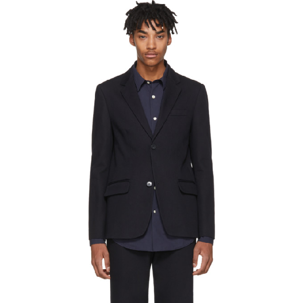 A.p.c. Burbank Single-breasted Cotton-twill Blazer In Navy