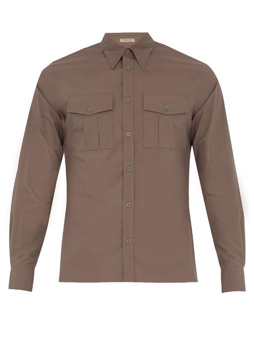 Bottega Veneta Single-cuff Patch-pocket Cotton Shirt In Grey