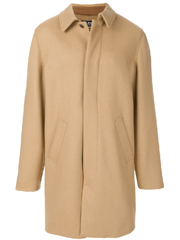 A.p.c. Covent Cotton-blend Overcoat In Beige