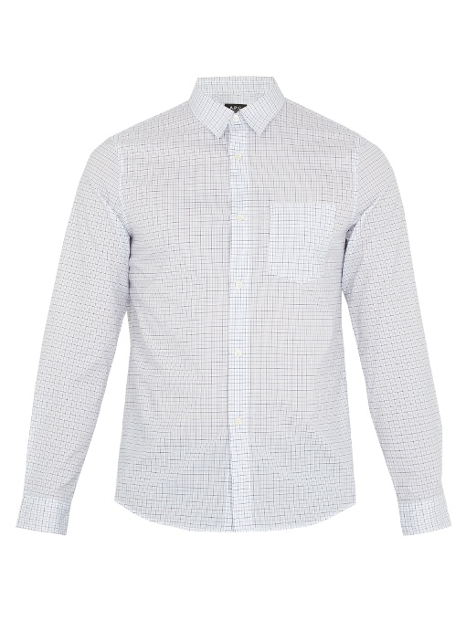 A.p.c. Sportswear Micro-checked Cotton Shirt In White Multi