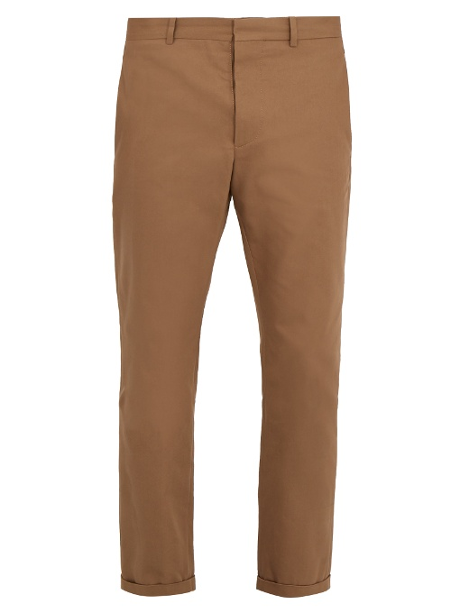 Marni Mid-rise Slim-leg Cotton Chino Trousers In Camel