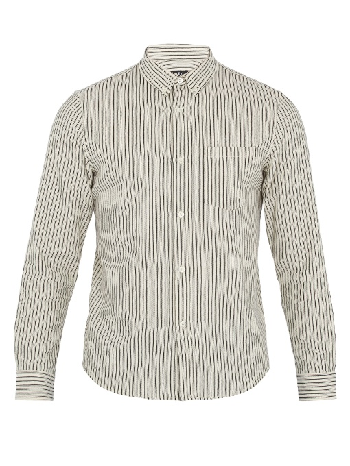 A.p.c. Mick Striped Cotton-canvas Overshirt In Beige Multi
