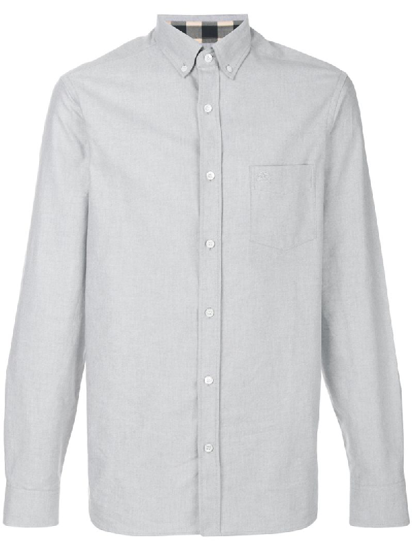 Burberry Reagan Point-collar Cotton-oxford Shirt In Grey