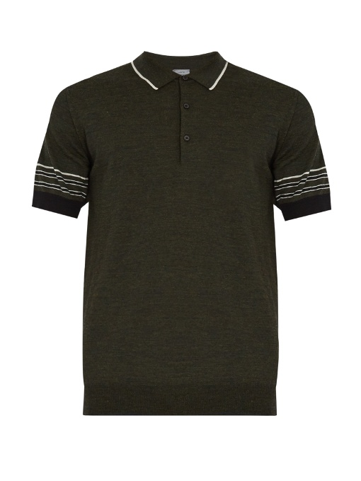 Lanvin Striped-collar Wool Polo Shirt In Khaki