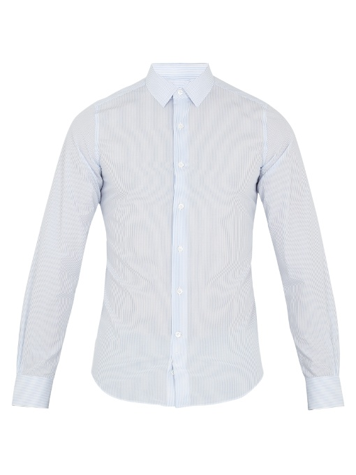 Valentino Button-cuff Striped Cotton-blend Shirt In White Multi