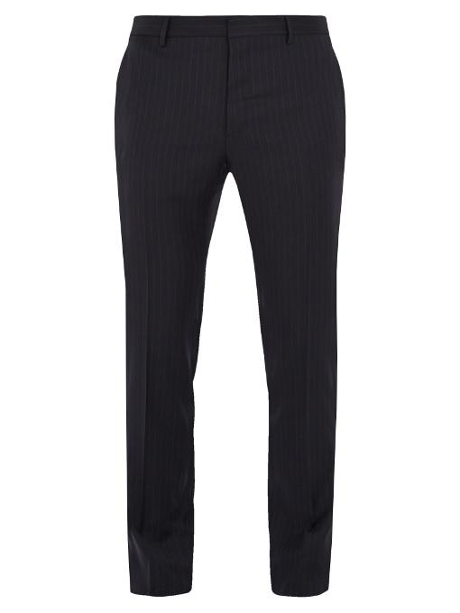 Valentino Striped Wool Slim-leg Trousers In Navy Multi