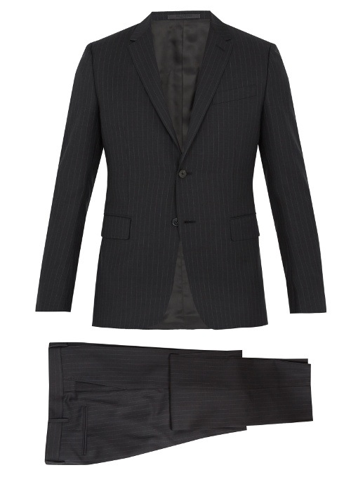 Valentino Striped Notch-lapel Wool Suit In Grey